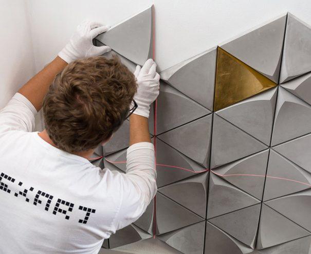 Betónový obklad trigon montáž